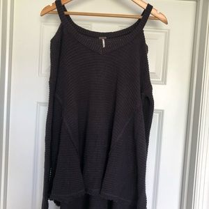 free people off the shoulder grey sweater